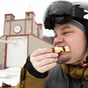 Many enjoy Wachusett Mountain Ski Area in Princeton on Friday, Jan. 10, 2020. Adam Sanders, 40, from Worcester enjoys a waffle covered in chocolate from the Waffle Cabin at the bottom of the mountain. SENTINEL & ENTERPRISE/JOHN LOVE