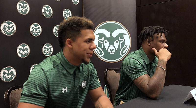 Colorado State players Izzy Matthews and Josh Watson talk with the media Tuesday in Las Vegas at the Mountain West Media Summit. (Mike Brohard/Loveland Reporter-Herald)