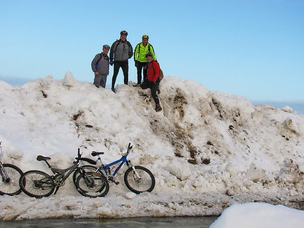 Geordie, Daz, Ray and Me on a small pile of snow above rosedale abbey
