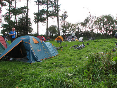 the camp site at trueleigh hill youth hostel , luckily it was a dry weekend