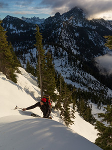 A shortcut above the Source Lake basin makes a short intro to snow climbing.