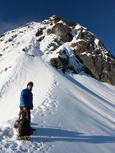Gearing up below the Northeast Buttress route.