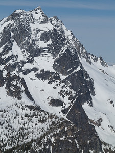 From the North Ridge of Colchuck, we get a view of Mt. Stuart's North Ridge and Northeast Face.