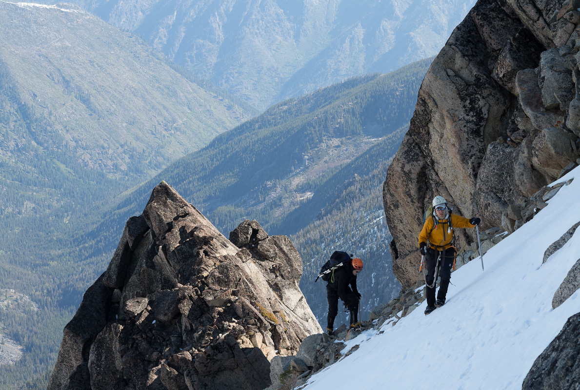 Turning the corner onto the Northwest Face of Colchuck Peak, with just under 1,000 vertical feet to go.