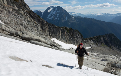 Alex, seeking payback for an abortive trip to Mt. Shuksan's Fischer Chimneys.