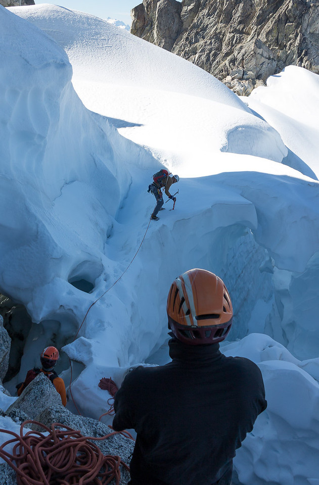 Without this easy escape, we could have faced steep ice climbing to reach our descent path down the McAlister Glacier...