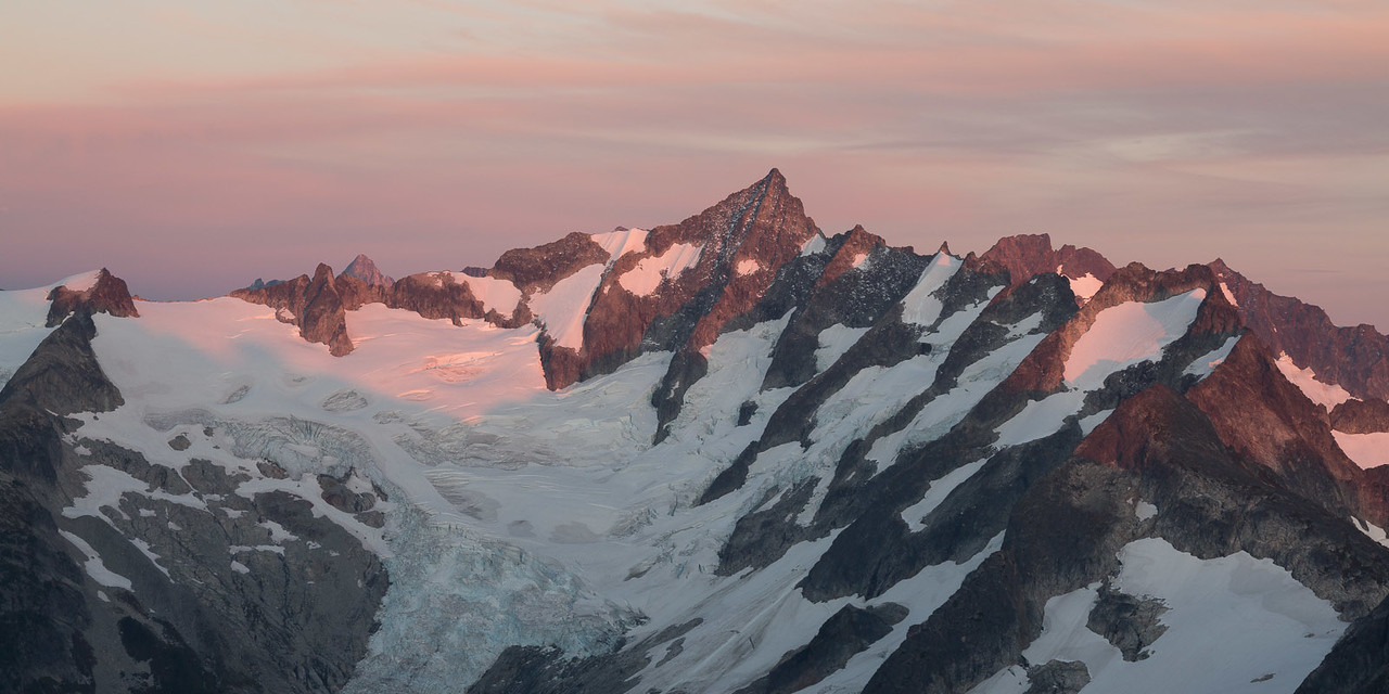 Chelan forest fires may have enhanced the alpenglow across Forbidden Peak.