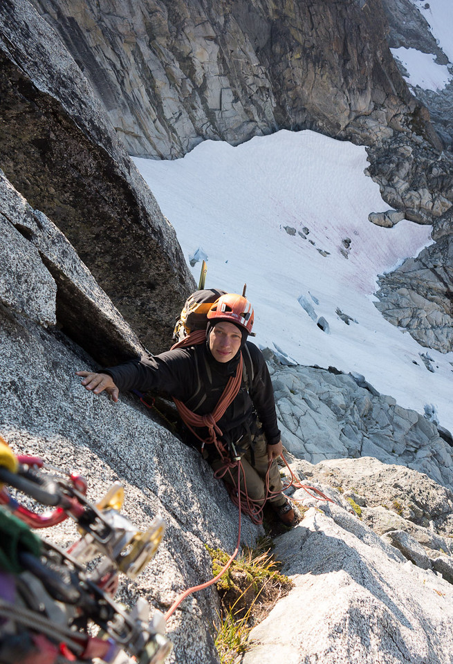 Alex is unfazed by the easy alpine rock climbing.
