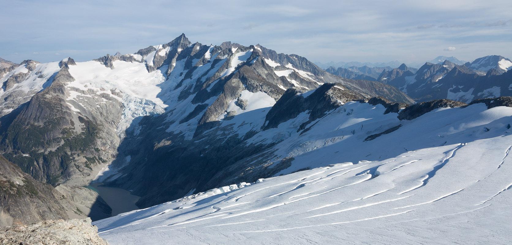 The Inspiration Glacier slips away east toward Forbidden Peak.