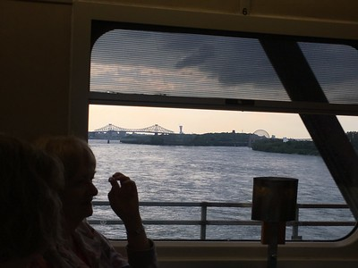 Looking from the Ocean Sleeper dining car towards Ice Sainte-Helene and the Biosphere.