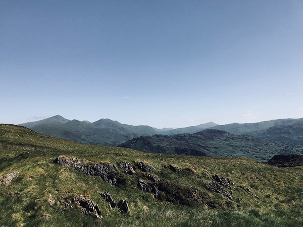 Towards Snowdon, left, from the slopes to the east of Moel Hebog.