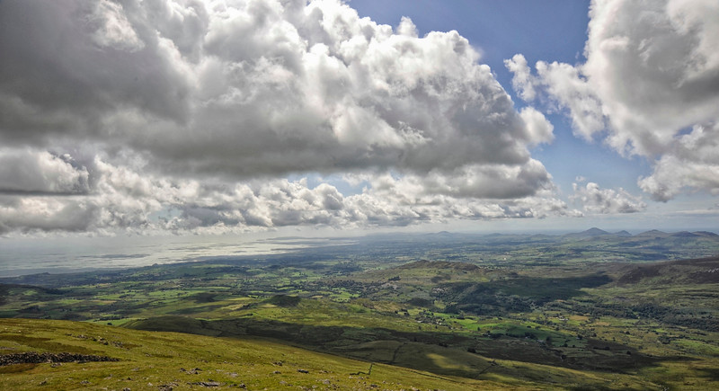 Looking south towards Lleyn Peninsula from Moel Hebog, Snowdonia, Wales.