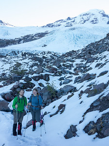 Shabnam and Josh on the moraine below the Lower Coleman Glacier.