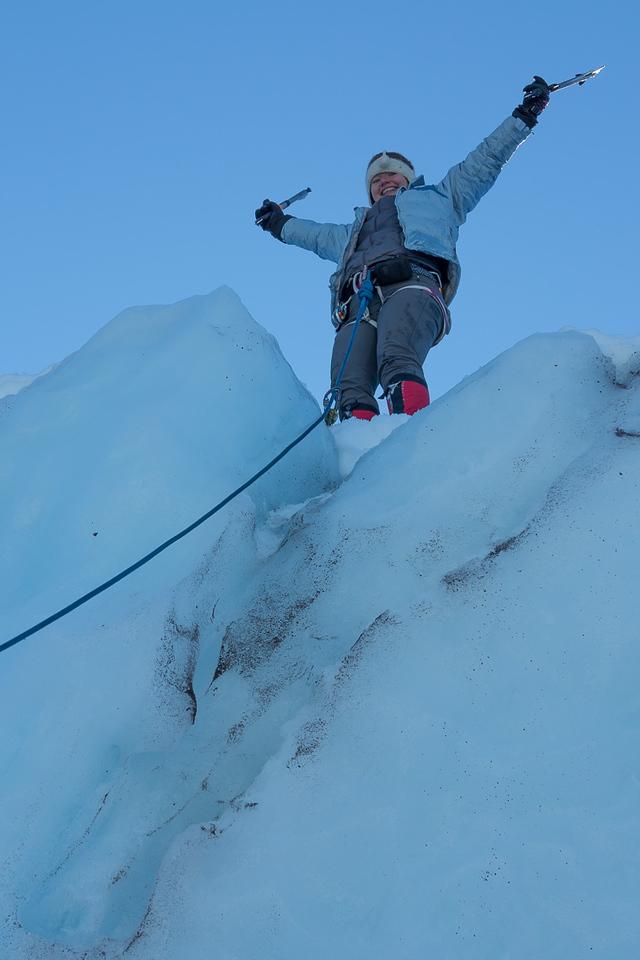 Shabnam's first ice climb!