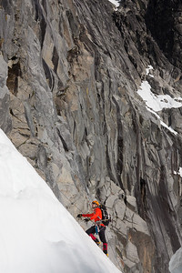 In search of a way around the bergschrund blocking access to the Ice Cliff Glacier Couloir.