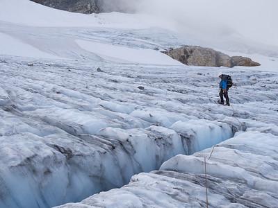 Exploring the Upper Colonial Glacier.