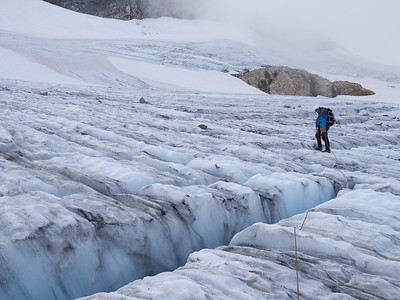 Exploring the Upper Colonial Glacier.