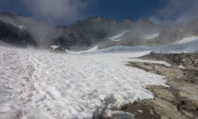 This glacial remnant below Forbidden Peak probably won't be around much longer.