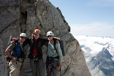 Gerry, Alex and me at the top of the West Ridge Couloir, expecting an easy descent.