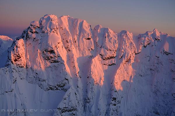 Aerial photo of Organ Mountain at sunset, Chugach Mounains, Alaska