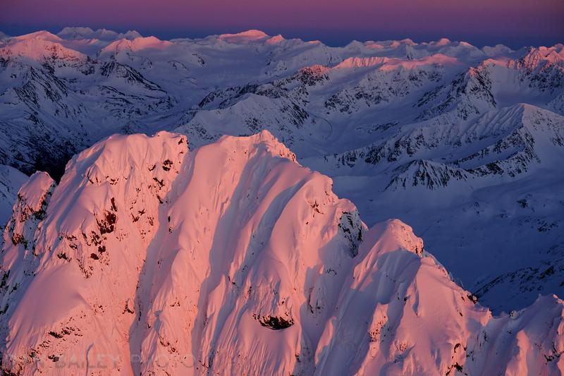 Last light on the summit of Organ Mountain, Chugach Mountains, Alaska