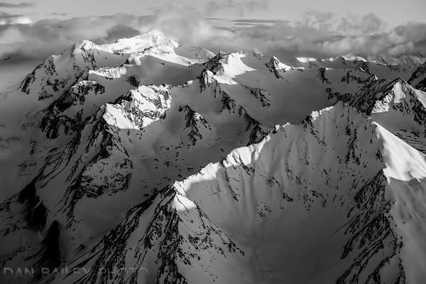 Sunlight on mountian ridges alongside Hunter Creek Glacier, Chugach Mountains, Alaska