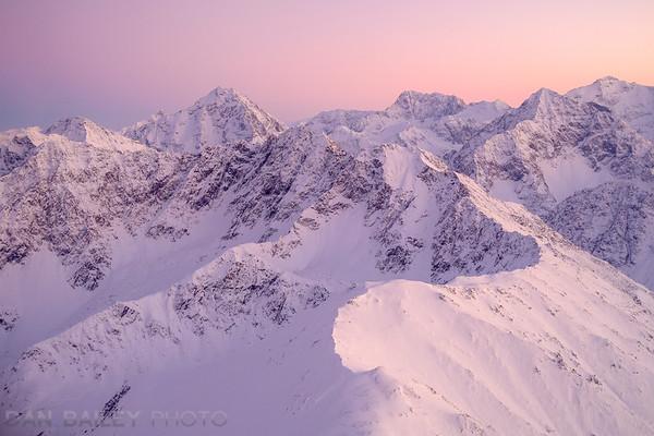 Eagle Peak and the Chugach Mountains at sunset, Alaska