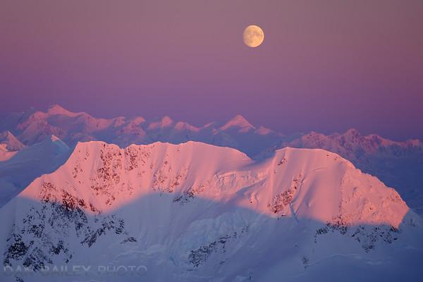 Moonrise over the Chugach Mountains, Alaska