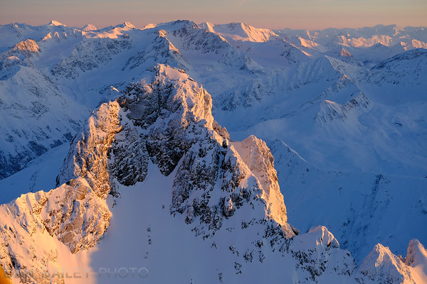 Aerial photo of Polar Bear Peak, Chugach Mountains, Alaska.