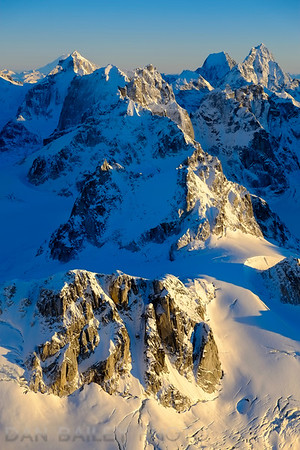 The Citadel, (8,305') at left, and Mount Neacola (9,246') and Peak 8505 at right, seen from the North, in the Neacola Mountains, Alaska
