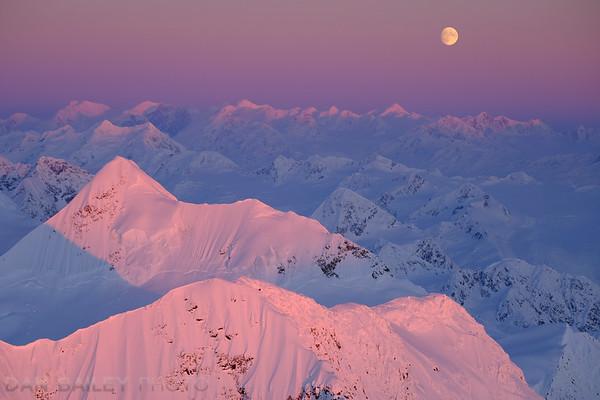 Moonrise over Peak 7368, Chugach Mountains, Alaska
