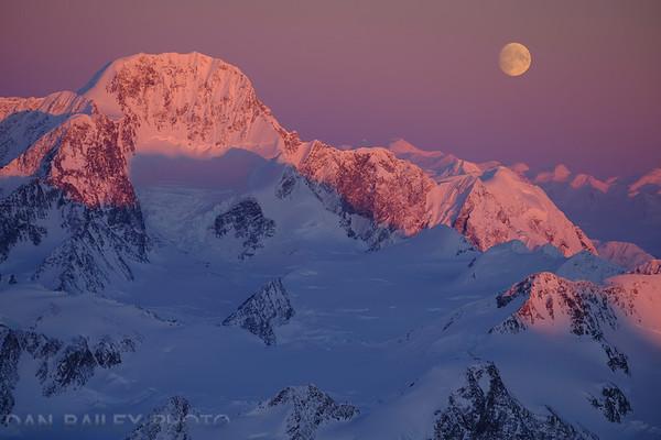Moonrise over Mount Gilbert, Chugach Mountains, Alaska