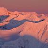 Mt. Gilbert and a full moon over the Chugach Mountains, winter, Alaska