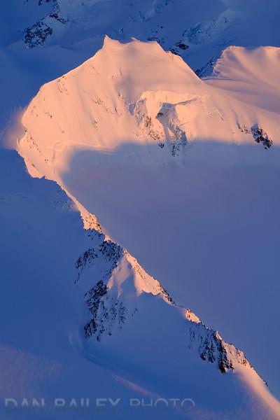 Sunset aerial photo of the Chugach Mountains and glaciers, Alaska