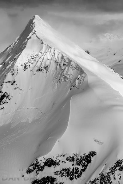 Aerial photo of Bounty Peak at the top of Whiteout Glacier, Chugach Mountains, Alaska