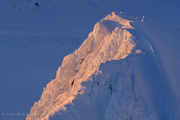 Aerial photo of Peak 6870 at sunset, Chugach Mountains, Alaska