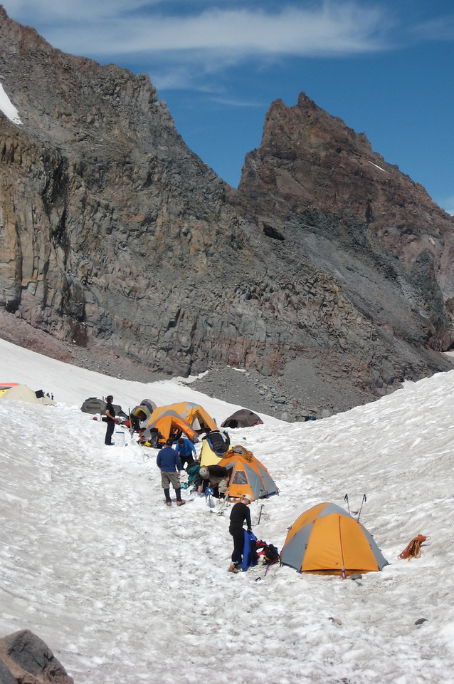 "Some of the many tents - this is a team from ""Camp Patriot"" - a group of disabled veterans attempting to reach the summit."