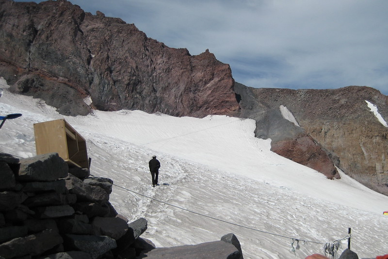This is the first part of the climb. You have to rope up from Camp Muir to the summit. You can see the trail heading up.