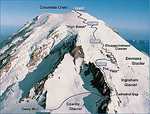 Here's the route (from RMI website) - our goal. Approx 4,400 from Camp Muir to the summit. We went with a guide service (RMI) so we would make it back alive.