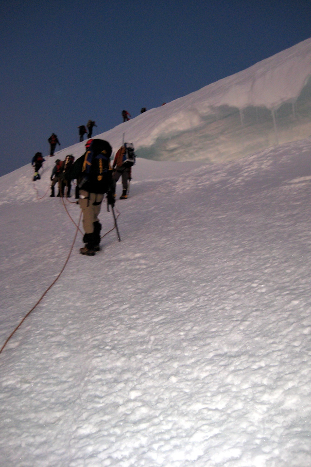 There were several large crevasses we had to cross to reach the summit.