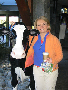 Heidi needed a little milk for her latte