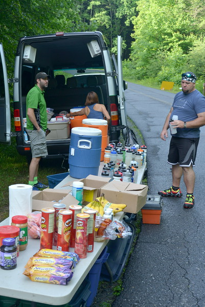Aid Station #1....organized and ready.<br /> Great job volunteers.