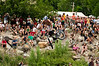 The crowds enjoy the aerials at the river jump, Downieville Classic