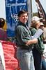 Ray Baldock volunteers at the finish line timekeeping