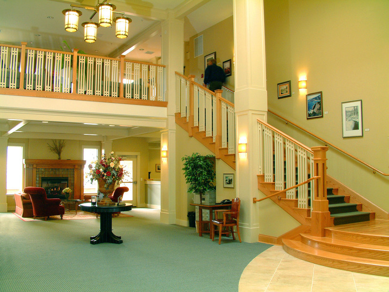 Clubhouse Lobby with resident staircase art display.
