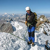 Rogier on the summit. View W. Gd Combin, Mt Blanc