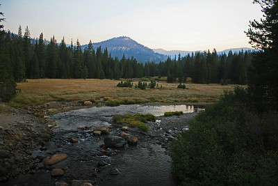 After leaving the Devil's Postpile trailhead, there is a bridge that crosses the Middle Fork of the San Joaquin river.  This is a view looking north just as the sun was starting to rise.