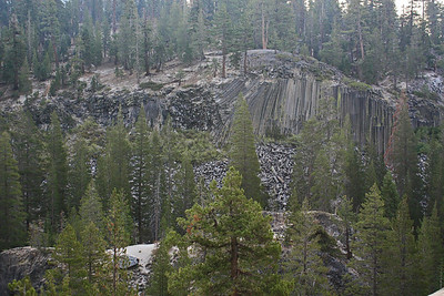 The trail rises quickly up the west side of the river and offers a great view of Devil's Postpile.