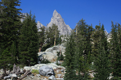 A view of Clyde Minaret as I approach the outlet of Minaret Lake.