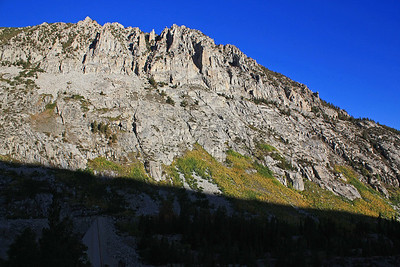 I took the Brown/Green Lake Trailhead from South Lake outside of Bishop, CA.  Fall colors were just beginning to emerge.  The sun was just starting to shine over the top of the mountains into the valley.